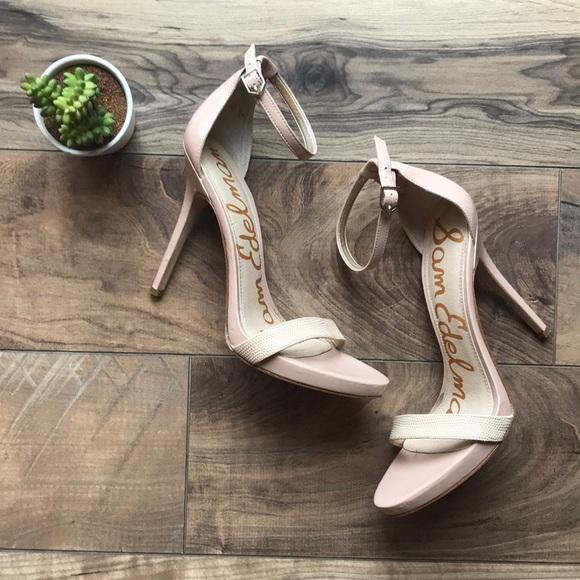 b38f1a3cf8ae8 SAM EDELMAN Eleanor nude ankle strap sandal heel. M 5b97f73203087c04e08b24bc